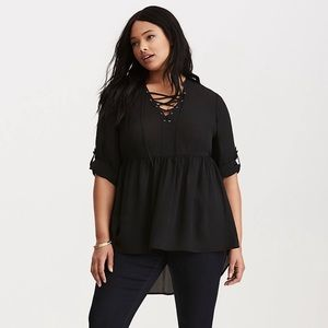 NWT Torrid Lace Up Blouse